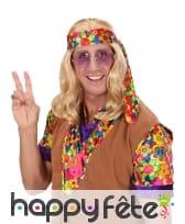 Longue perruque blonde de hippie ondulée