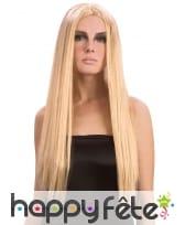Longue perruque blonde et lisse avec raie centrale