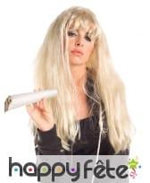 Longue perruque blonde légèrement ondulée, image 1