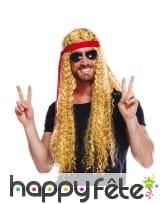 Longue perruque blonde ondulée de hippie