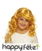 Longue perruque blonde ondulée pour fillette