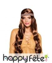 Longue perruque brune avec bandeau hippie