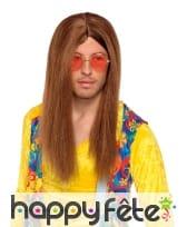 Longue perruque brune et lisse de hippie