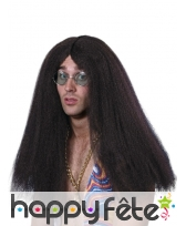 Longue perruque brune hippie pour homme, image 1