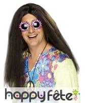 Longue perruque brune hippie pour homme