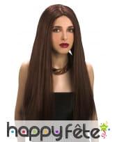 Longue perruque brune lisse avec raie centrale