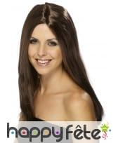 Longue perruque brune lisse de 44 cm, image 1