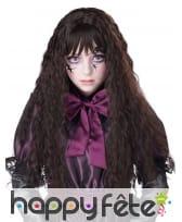 Longue perruque brune ondulée pour enfant