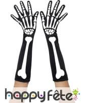 Longue paire de gants squelette