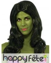 Longue perruque de Hulk pour femme