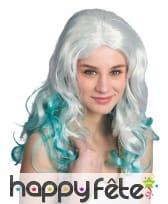 Longue perruque de sirène avec mèches vertes