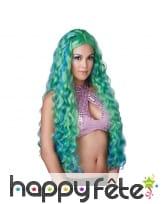 Longue perruque de sirène verte bouclée