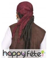 Longue perruque dread noire de pirate avec bandana, image 1