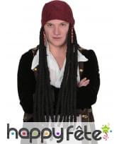 Longue perruque dread noire de pirate avec bandana, image 2