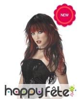 Longue perruque gothique noire mèches rouges