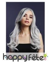 Longue perruque gris argent ondulée racines noires