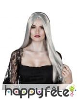 Longue perruque grise lisse