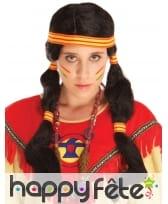 Longue perruque Indienne avec couettes et bandeau, image 1