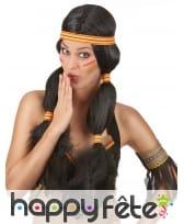 Longue perruque Indienne avec couettes et bandeau
