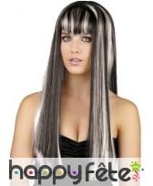 Longue perruque lisse blanche et noire
