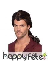 Longue perruque marron avec queue pour homme