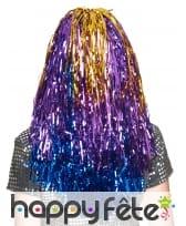 Longue perruque métallique multicolore, image 1