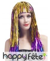 Longue perruque métallique multicolore, image 2
