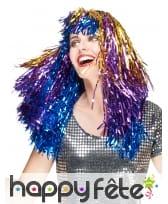 Longue perruque métallique multicolore