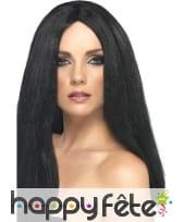Longue perruque noire à frange, 44cm