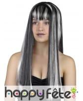 Longue perruque noire balayage blanc, image 1