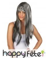 Longue perruque noire balayage blanc