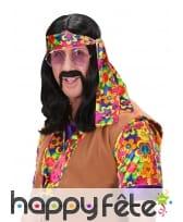 Longue perruque noire de hippie pour homme, image 2