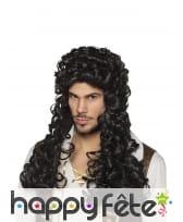 Longue perruque noire de pirate bouclée pour homme