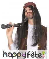 Longue perruque noire de pirate
