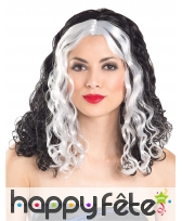 Longue perruque noire et blanche bouclée, image 1