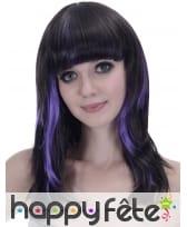 Longue perruque noire mèches violettes, image 1