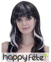 Longue perruque ondulée noire balayage blanc, image 1