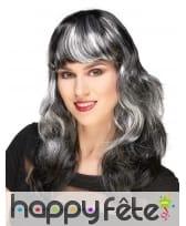 Longue perruque ondulée noire balayage blanc