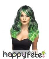 Longue perruque ondulée noire et verte