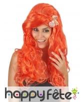 Longue perruque orange ondulée 50cm