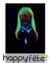 Longue perruque phosphorescente Blanc et rouge, image 1