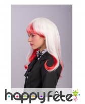 Longue perruque phosphorescente Blanc et rouge, image 2