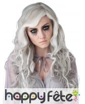 Longue perruque phosphorescente grise pour femme