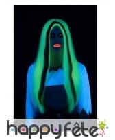 Longue perruque phosphorescente noir et blanc, image 1