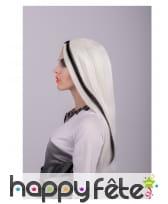 Longue perruque phosphorescente noir et blanc, image 2