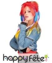 Longue perruque punk multicolore