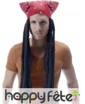 Longue perruque rasta avec bandana rouge, 60cm, image 1