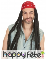 Longue perruque rasta avec bandana rouge, 60cm