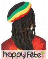 Longue perruque rasta avec bonnet jamaïcain, image 1