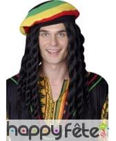 Longue perruque rasta avec bonnet jamaïcain, image 2